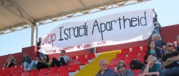 Anti-apartheid banner unfurled on the Terraces at Malta v Israel match