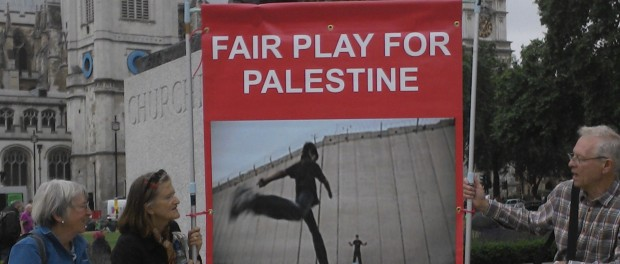 Banner for Fair Play campaign raised at Parliament Square