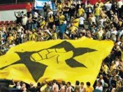 Beitar fans with giant flag
