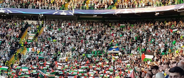 Palestinian flags oppose Israeli team at Celtic in the Champions League
