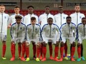 FLEETWOOD, ENGLAND - SEPTEMBER 01:  The England U18 team pose for a photo during the international friendly match between England U18 and Italy U18 at Highbury Stadium on September 1, 2016 in Fleetwood, United Kingdom. (Photo by Clint Hughes/Getty Images)