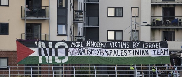 Protest on 15 September in Newport at the Wales v Israel women's match