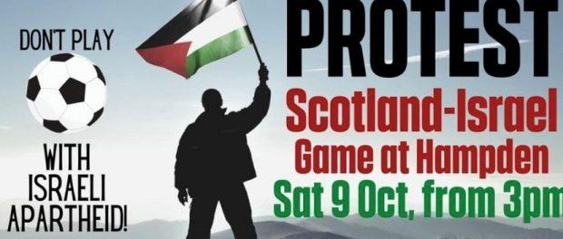 Protest the Israeli team bus at Hampden Park